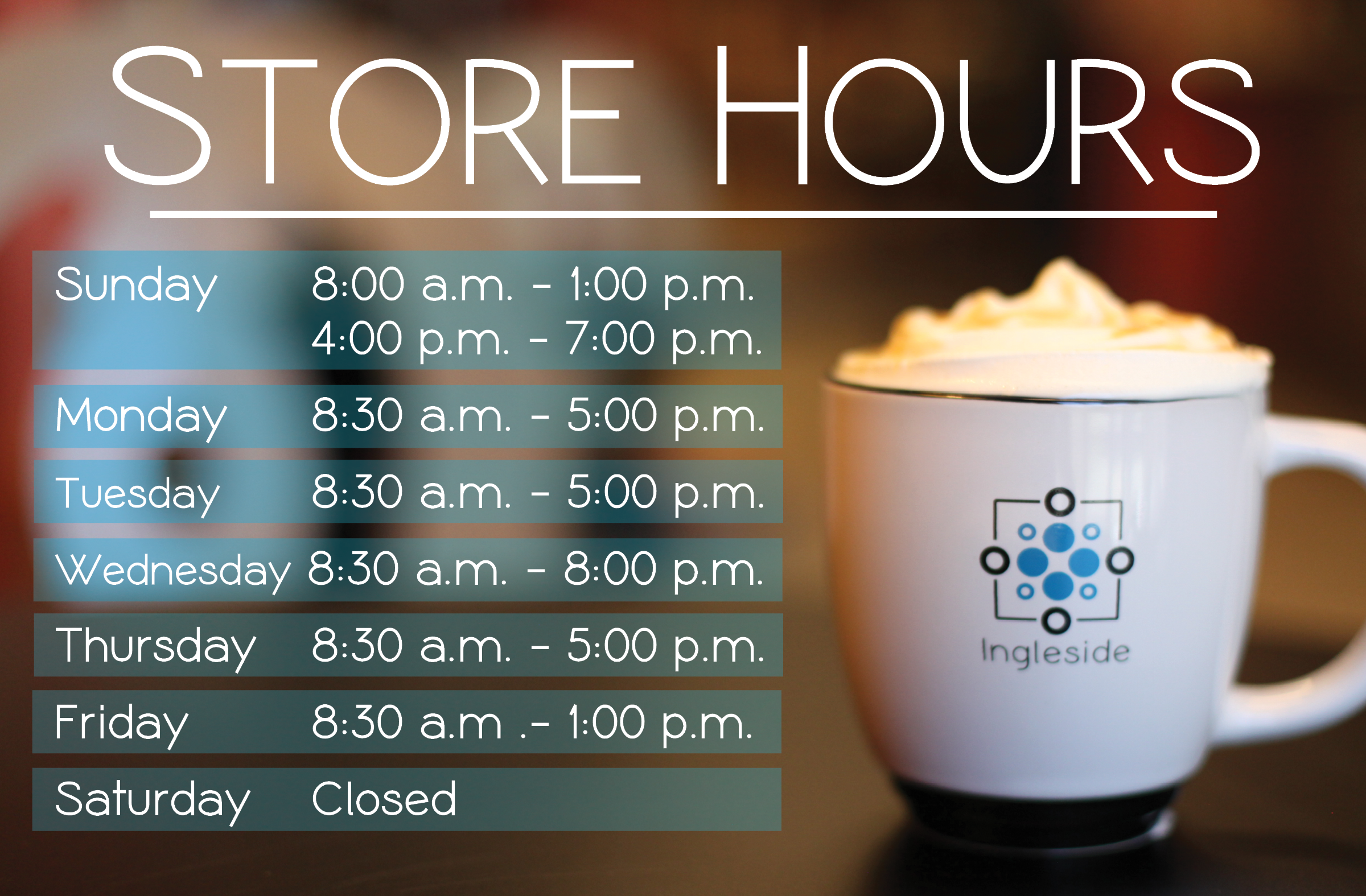 Bookstore and Cafe Hours